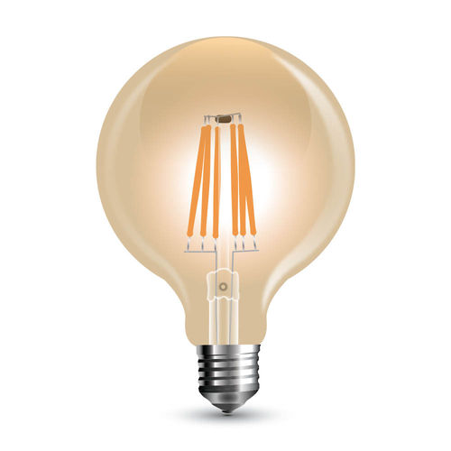 Led Filament G125 Amber Cover E27 8W Dimbaar