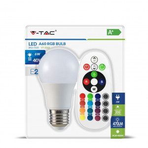 Led lamp E27/A60-6 Watt -RGB/Warm wit-470 Lumen